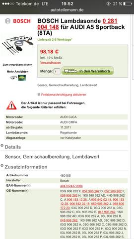Ausgewählte Lambdasonde die ich bestellen würde( vor Kat) - (Audi, lambdasonde, Sportback)